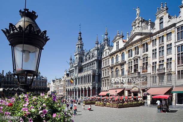 brussels grand place in the summer - belgium stock pictures, royalty-free photos & images