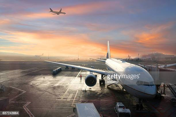 brussels international airport, belgium - plane stock photos and pictures