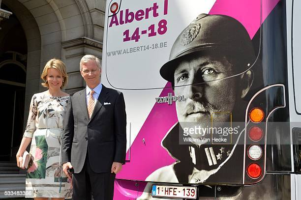 Brussels, July 18, 2014: King Philippe and Queen Mathilde visiting annual exhibition on Science and Culture at Royal Palace of Brussels pict. By Bert...