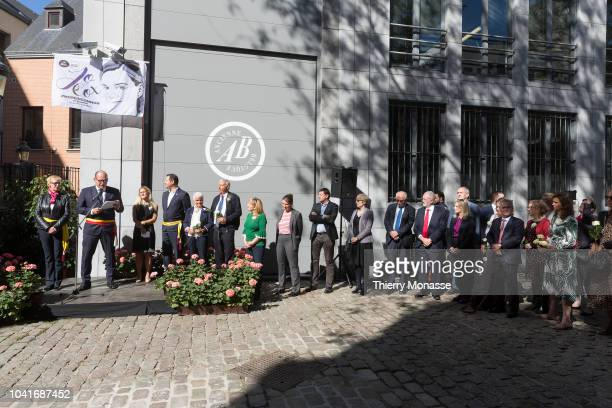 Brussels Mayor Philippe Close attend a ceremony ceremony to name a square in honor of slain British Labour MEP Jo Cox on September 27 2018 in...