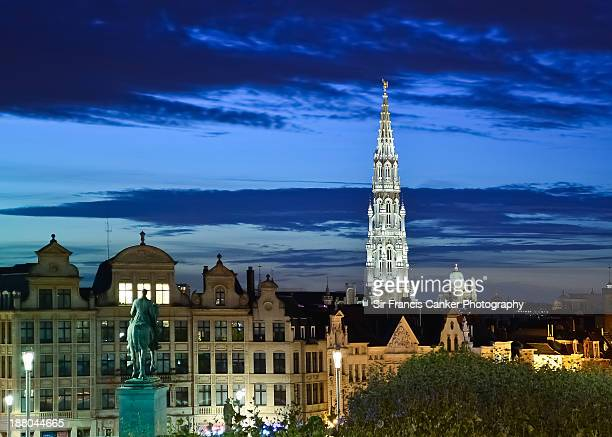 Brussels skyline at dusk with Town Hall tower