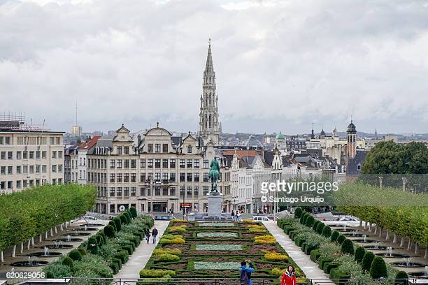 Brussels skyline with majestic City Hall bell tower