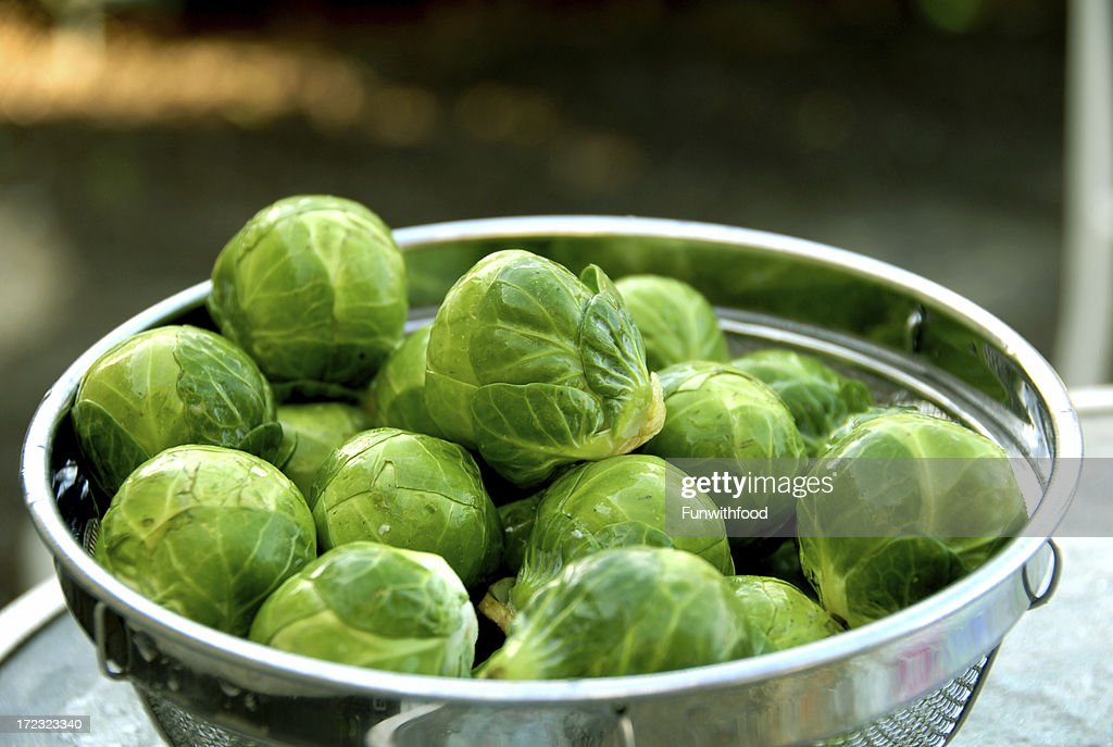 Brussels Sprouts, Healthy Food, Vegetables in Colander : Stockfoto