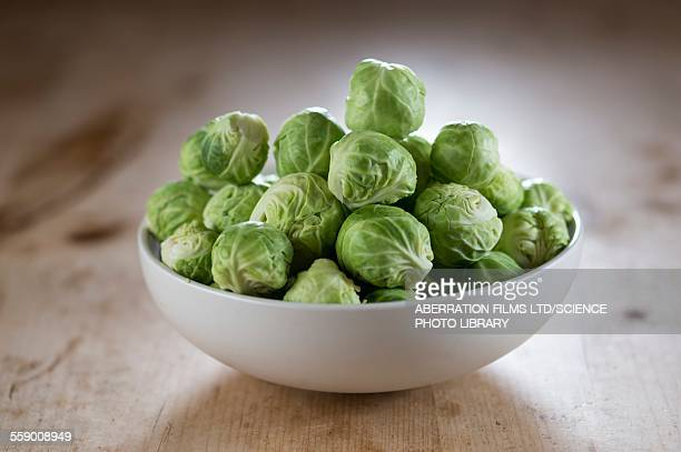 brussels sprouts in bowl - 芽キャベツ ストックフォトと画像