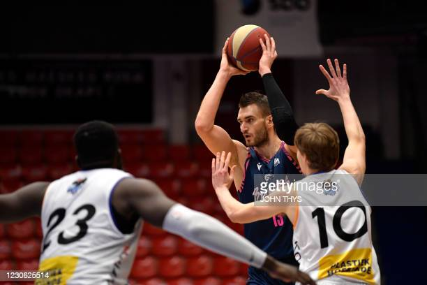 Brussels' Viktor Ijins controls the ball during the basketball match between Okapi Aalst and Phoenix Brussels, Saturday 16 January 2021 in Aalst, on...