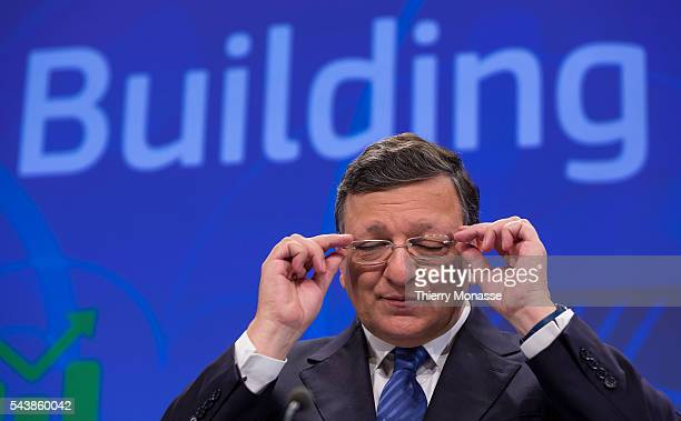 Brussesls Belgium June 2 2014 President of the EU COmmission Jose Manuel BARROSO is talking to media about the 2014 Country Specific Recommendations...