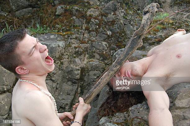 brutal caveman - naturist male stock pictures, royalty-free photos & images