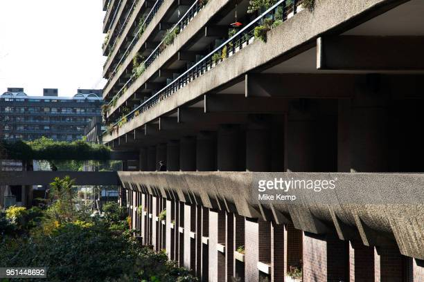 Brutalist architecture exterior from the Highwalk in the Barbican Estate in the City of London England United Kingdom The Barbican Centre is a...