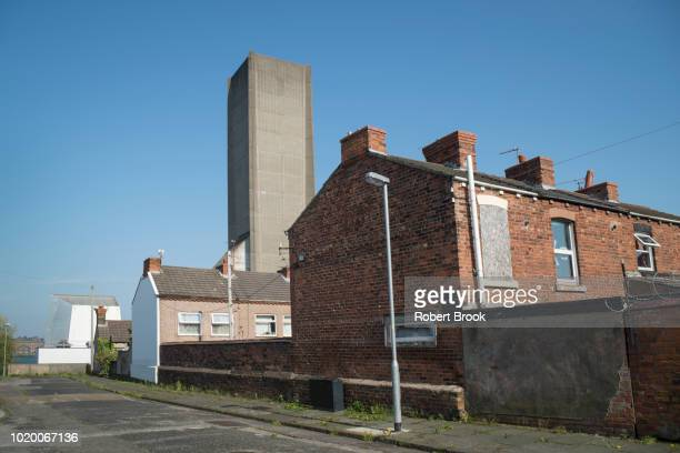 brutalist ventilation shaft in urban residential district - liverpool england stock pictures, royalty-free photos & images