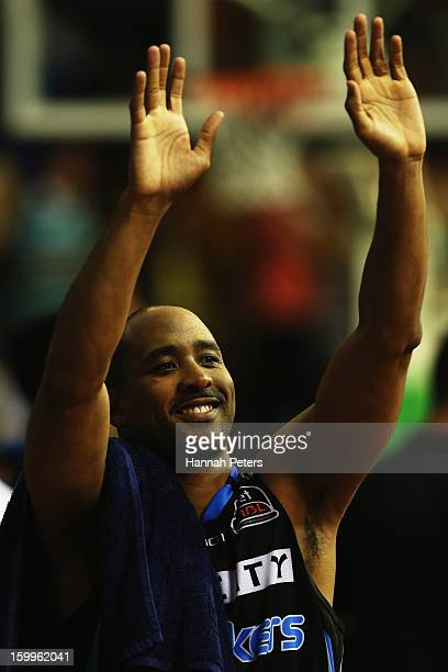 Bruton of the Breakers celebrates after winning the NBL Round 16 match between the New Zealand Breakers and the Sydney Kings at North Shore Events...