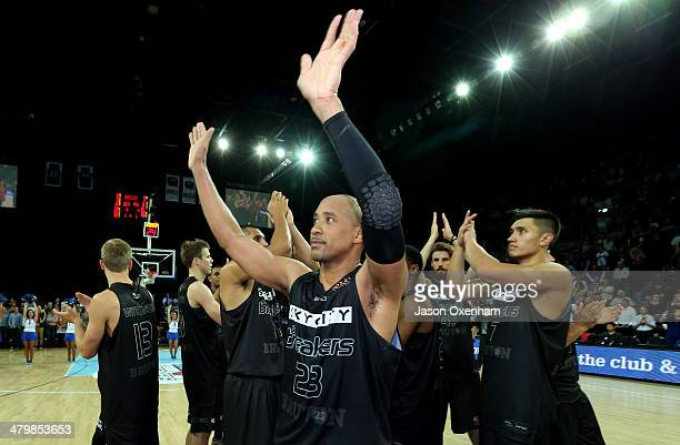 Bruton of the Breakers waves goodbye to his fans after playing his last game for the New Zealand Breakers during the round 23 NBL match between the...