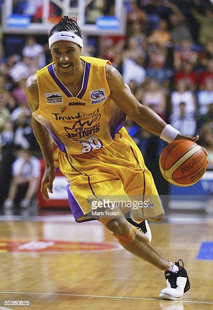 Bruton of the Kings in action during game two of the NBL Grand Final Series between the Wollongong Hawks and the Sydney Kings held at the WIN...