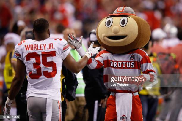 Brutus Buckeye the mascot for the Ohio State Buckeyes highfives linebacker Chris Worley as they take on the Wisconsin Badgers during the Big Ten...