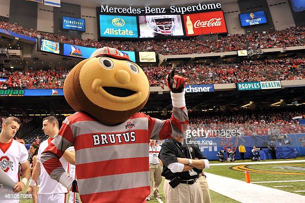 Brutus Buckeye the mascot of the Ohio State Buckeyes reacts during their game against the Alabama Crimson Tide during the Allstate Sugar Bowl at the...