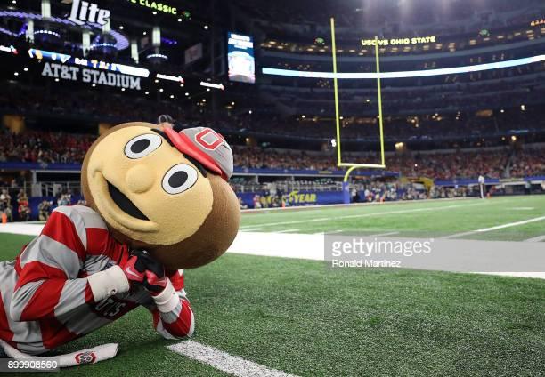 Brutus Buckeye the Ohio State Buckeyes mascot during the Goodyear Cotton Bowl at ATT Stadium on December 29 2017 in Arlington Texas