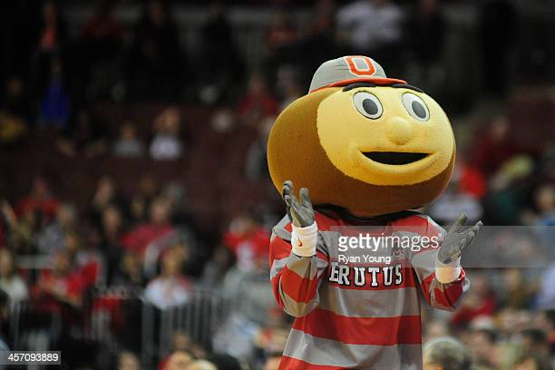 Brutus the Buckeye performs during an intermission in the game between the Central Connecticut State Blue Devils and the Ohio State Buckeyes on...