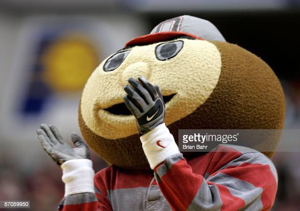 Brutus the mascot of the Ohio State Buckeyes claps in the second half against the Indiana Hoosiers during Day 3 of the Big 10 Tournament on March 11...