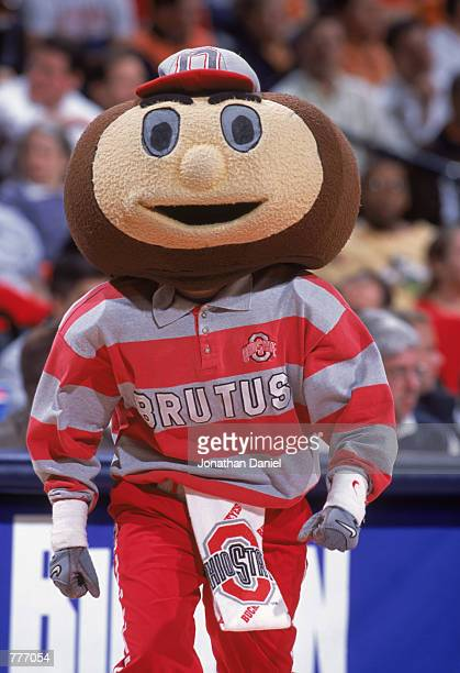 Brutus the mascot of the Ohio State Buckeyes encourages the team during the Big Ten Tournament against the Michigan Wolverines at Conseco Fieldhouse...