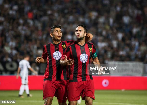 Brwa Nouri of Oestersunds FK celebrates after scoring to 01 during the UEFA Europa League Qualifying PlayOffs round first leg match between PAOK...