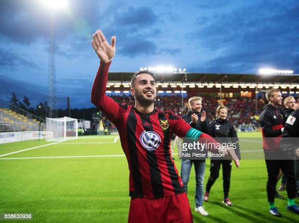 Brwa Nouri of Oestersunds FK celebrates after the victory during the UEFA Europa League Qualifying PlayOffs round second leg match between...
