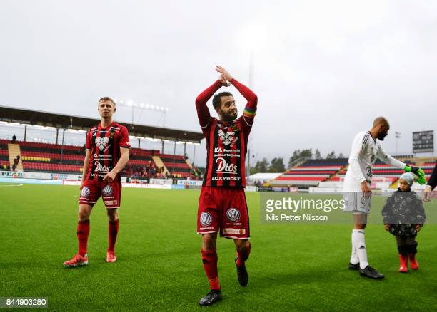 Brwa Nouri of Oestersunds FK celebrates after the victory during the Allsvenskan match between Ostersunds FK and Athletic FC Eskilstuna at Jamtkraft...