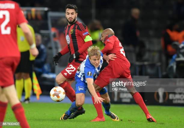 Brwa Nouri of Oestersunds FK Per Skjelbred of Hertha BSC and Fouad Bachirou of Oestersunds FK during the UEFA Europa League Group J match between...