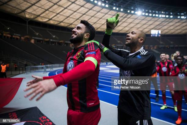 Brwa Nouri of Ostersunds FK and Aly Keita goalkeeper of Ostersunds FK celebrates after the UEFA Europa League group J match between Hertha BSC and...