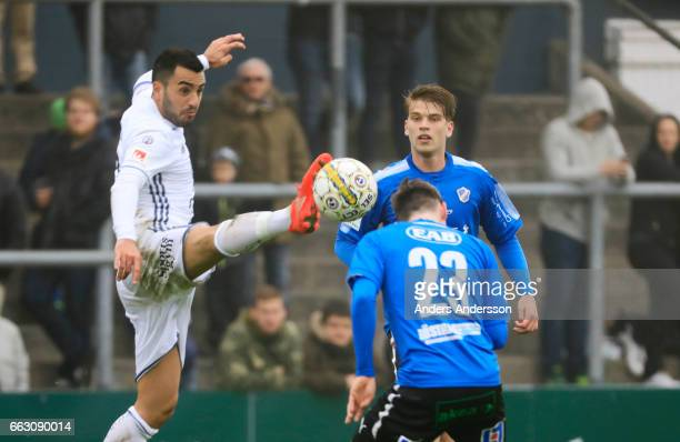 Brwa Nouri of Ostersunds FK and Jonathan Svedberg of Halmstad BK competes for the ball during the Allsvenskan match between Halmstad BK and...