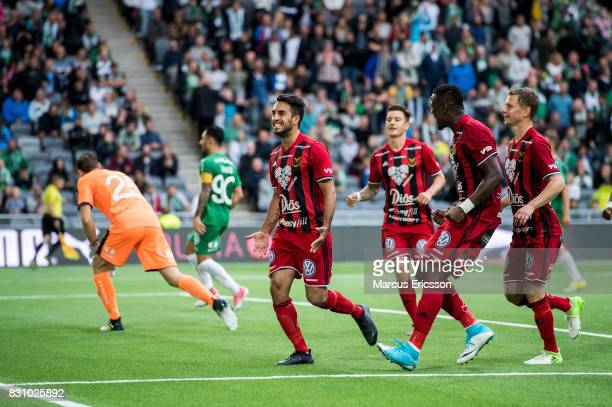 Brwa Nouri of Ostersunds FK celebrates after scoring 22 during the Allsvenskan match between Hammarby IF and Ostersunds FK at Tele2 Arena on August...