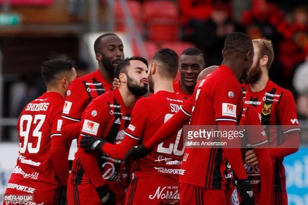 Brwa Nouri of Ostersunds FK celebrates after scoring during the Allsvenskan match between Ostersunds FK and IF Elfsborg at Jamtkraft Arena on October...