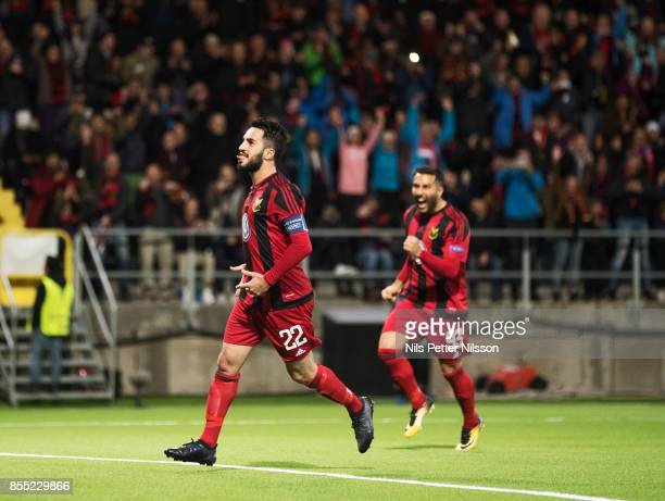 Brwa Nouri of Ostersunds FK celebrates after scoring to 1-0 during the UEFA Europa League group J match between Ostersunds FK and Hertha BSC at...