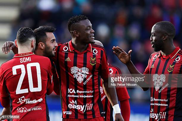 Brwa Nouri of Ostersunds FK celebrates after scoring to 41 together with Abdullahi Gero of Ostersunds FK during the Allsvenskan match between...