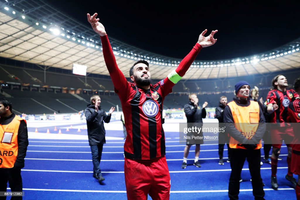 Brwa Nouri of Ostersunds FK celebrates after the UEFA Europa League group J match between Hertha BSC and Ostersunds FK at the Olympic Stadium on December 7, 2017 in Berlin, Germany.