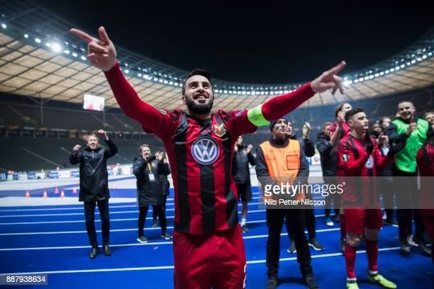 Brwa Nouri of Ostersunds FK celebrates after the UEFA Europa League group J match between Hertha BSC and Ostersunds FK at the Olympic Stadium on...