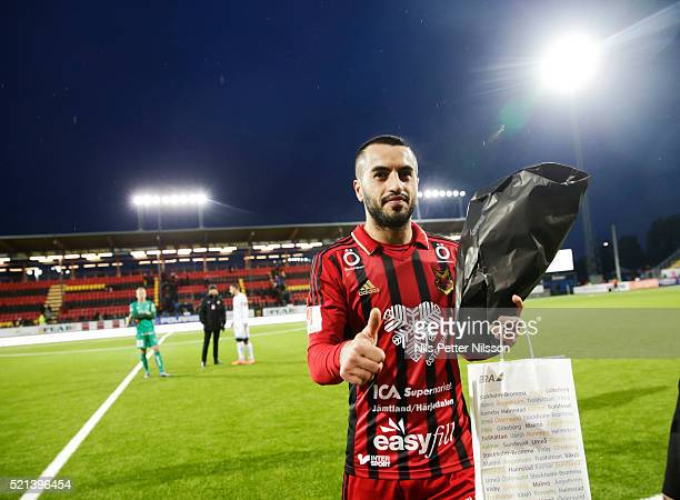 Brwa Nouri of Ostersunds FK celebrates after the victory during the allsvenskan match between Ostersunds FK and BK Hacken at Jamtkraft Arena on April...