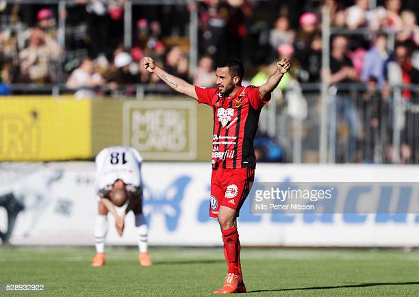 Brwa Nouri of Ostersunds FK celebrates after the victory during the Allsvenskan match between Ostersunds FK and Kalmar FF at Jamtkraft Arena on May 7...