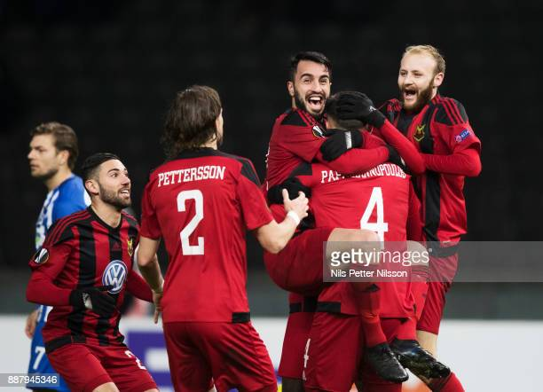 Brwa Nouri of Ostersunds FK celebrates together with Sotirios Papagiannopoulus who scored the opening goal to 01 during the UEFA Europa League group...