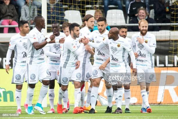 Brwa Nouri of Ostersunds FK celebrates with teammates after scoring during the Allsvenskan match between BK Hacken and Ostersunds FK at Bravida Arena...
