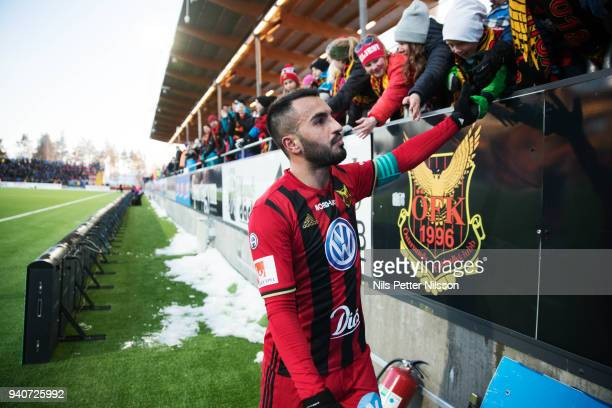 Brwa Nouri of Ostersunds FK cheers to the fans after the Allsvenskan match between Ostersunds FK and Djurgardens IF at Jamtkraft Arena on april 1...