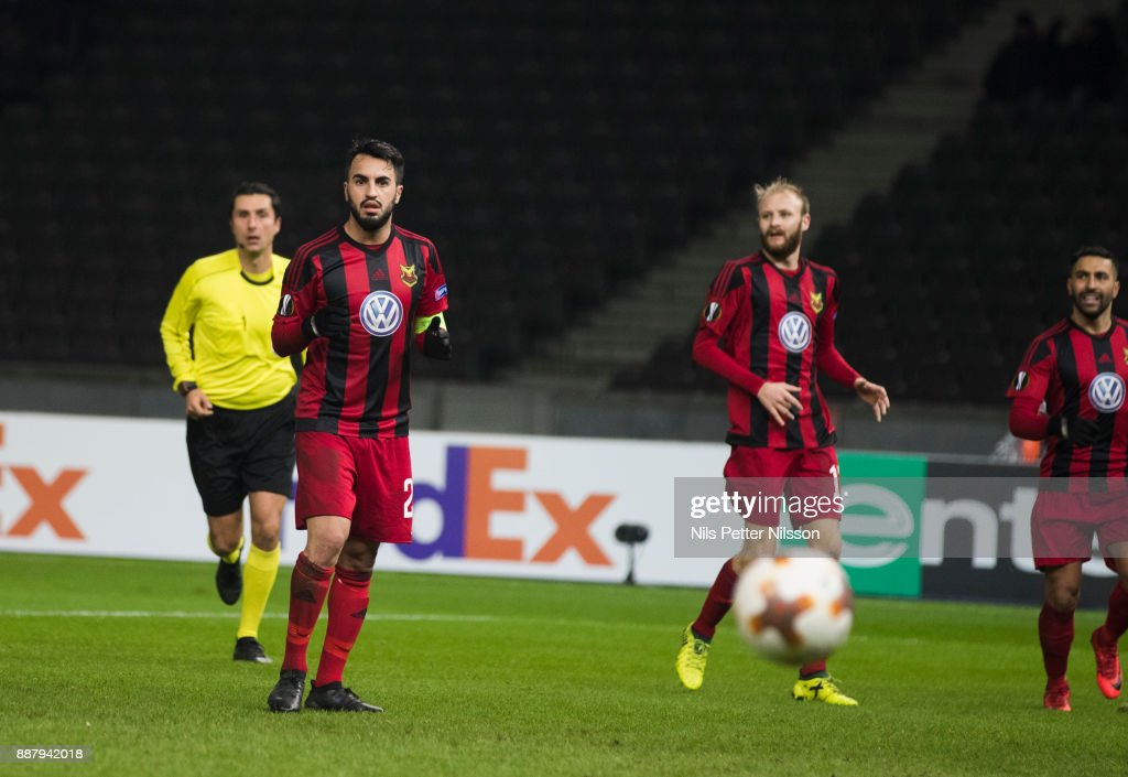 Brwa Nouri of Ostersunds FK dejected after missing a penalty shot during the UEFA Europa League group J match between Hertha BSC and Ostersunds FK at the Olympic Stadium on December 7, 2017 in Berlin, Germany.