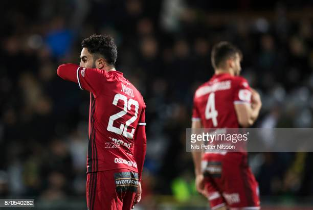 Brwa Nouri of Ostersunds FK dejected during the Allsvenskan match between Jonkopings Sodra IF and Ostersunds FK at Stadsparksvallen on November 5...