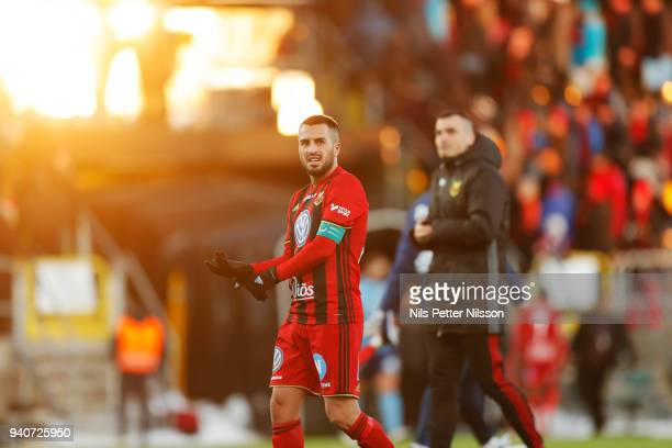 Brwa Nouri of Ostersunds FK dejected during the Allsvenskan match between Ostersunds FK and Djurgardens IF at Jamtkraft Arena on april 1 2018 in...