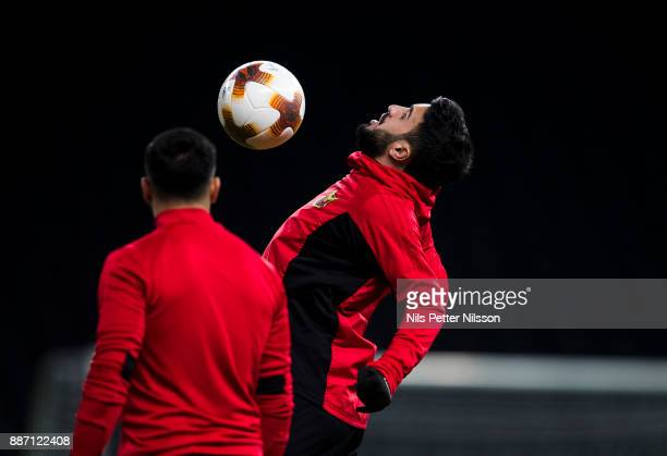 Brwa Nouri of Ostersunds FK during training ahead of the UEFA Europa League group J match between Hertha BSC and Ostersunds FK at the Olympic Stadium...