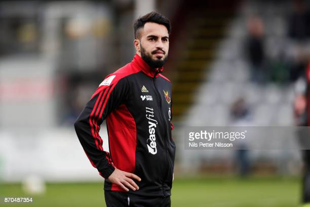 Brwa Nouri of Ostersunds FK during warm up ahead of the Allsvenskan match between Jonkopings Sodra IF and Ostersunds FK at Stadsparksvallen on...