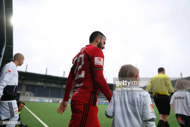 Brwa Nouri of Ostersunds FK enters the pitch ahead of the Allsvenskan match between Dalkurd FF and Ostersunds FK at Gavlevallen on April 8 2018 in...