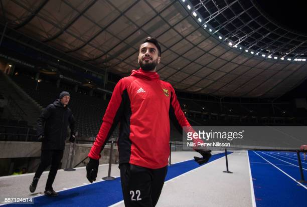 Brwa Nouri of Ostersunds FK enters the pitch for a training ahead of the UEFA Europa League group J match between Hertha BSC and Ostersunds FK at the...
