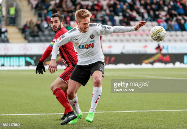 Brwa Nouri of Ostersunds FK Johan Martensson of Orebro SK competes for the ball during the allsvenskan match between Orebro SK and Ostersunds FK at...