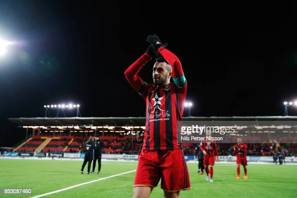 Brwa Nouri of Ostersunds FK leaves the pitch after the Swedish Cup Semifinal between Ostersunds FK and Malmo FF at Jamtkraft Arena on March 17 2018...