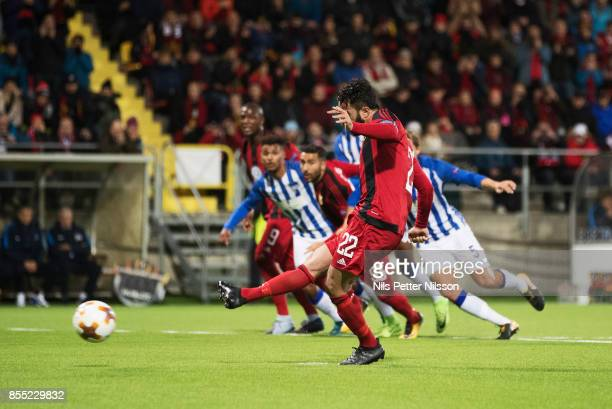 Brwa Nouri of Ostersunds FK scores the decisive goal to 10 during the UEFA Europa League group J match between Ostersunds FK and Hertha BSC at...