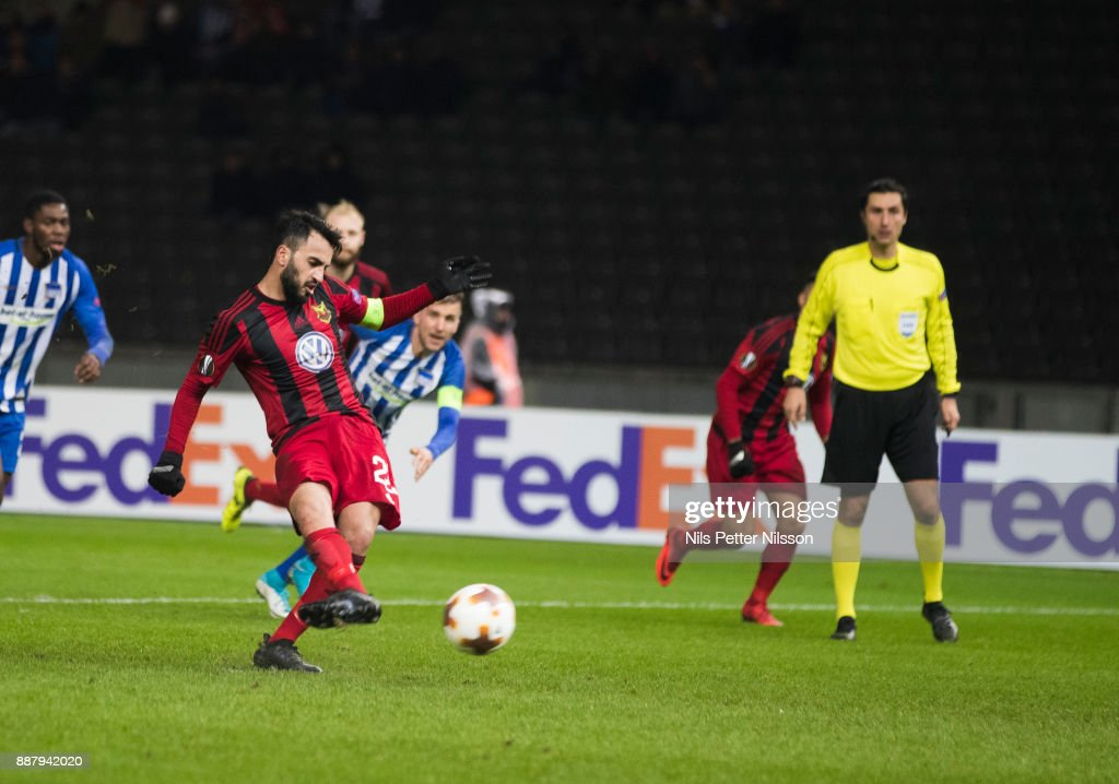 Brwa Nouri of Ostersunds FK shoots a penalty shot during the UEFA Europa League group J match between Hertha BSC and Ostersunds FK at the Olympic Stadium on December 7, 2017 in Berlin, Germany.